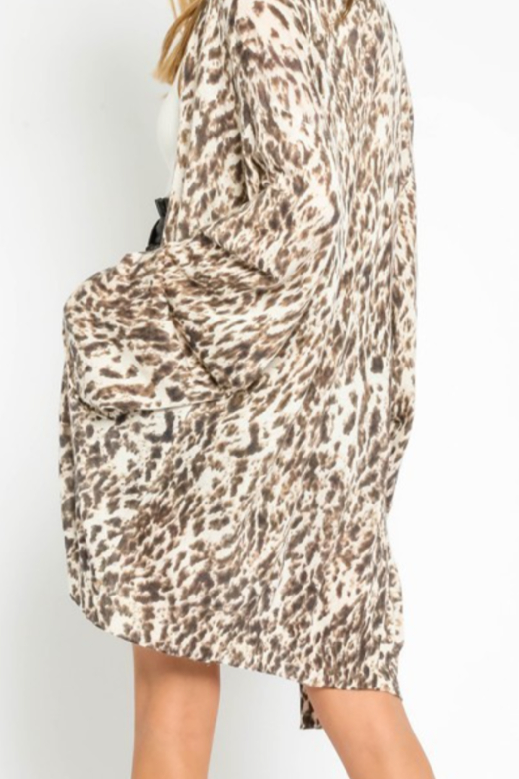 Olivaceous  Soft Leopard Cardigan - Front Full Image