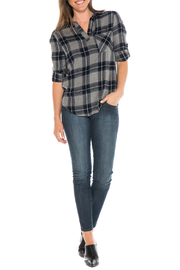 Side Stitch Soft Plaid V Neck Pullover - Product Mini Image