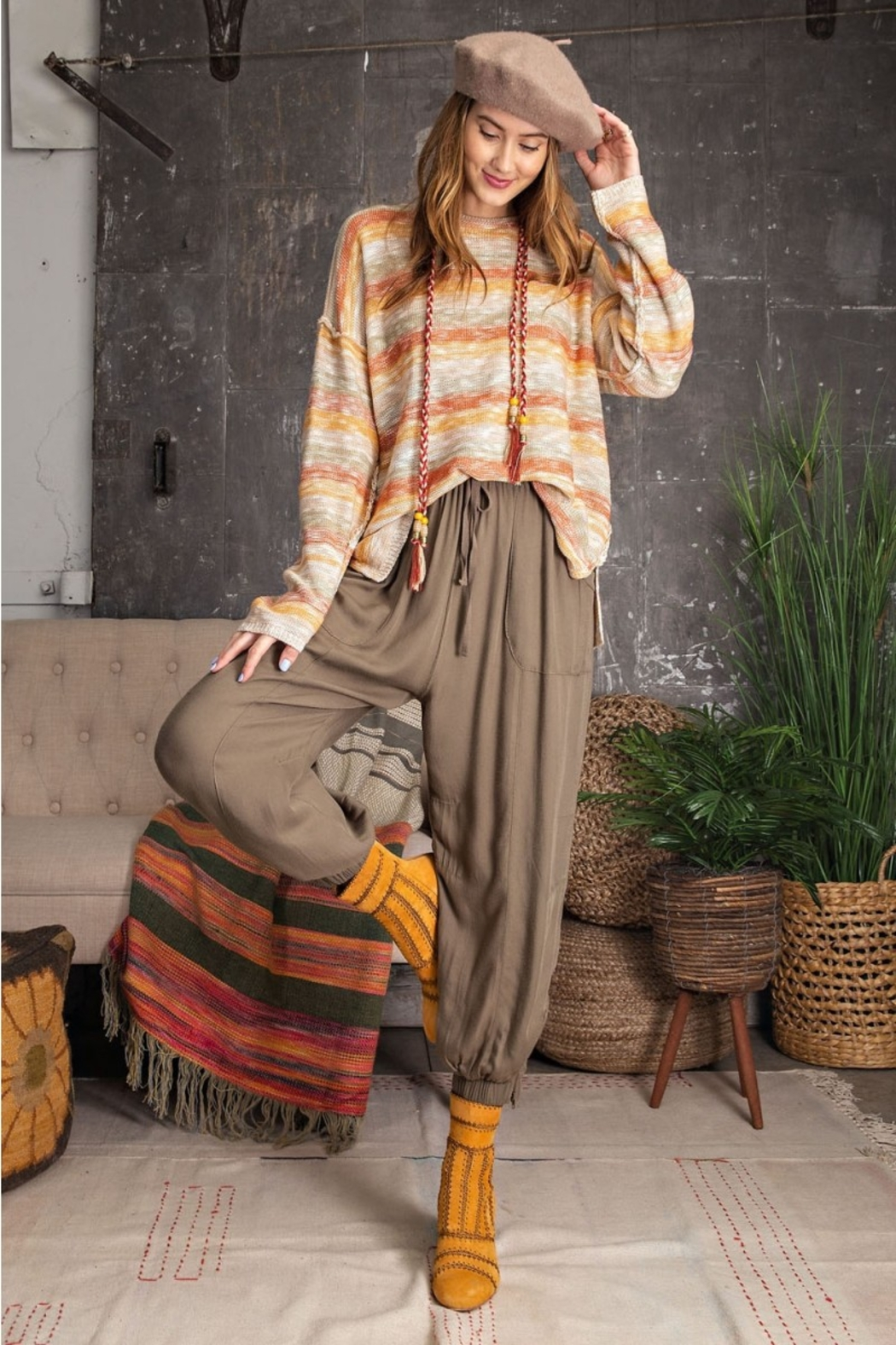 Easel  Soft Poly Linen Pants - Main Image