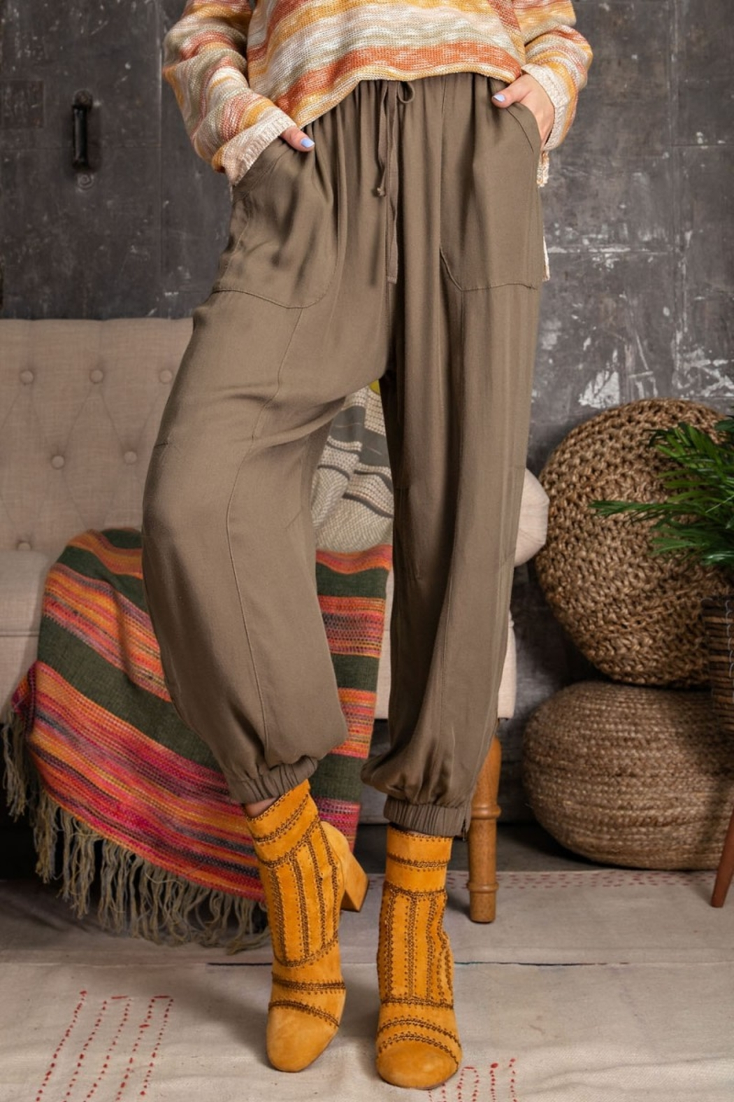 Easel  Soft Poly Linen Pants - Front Full Image