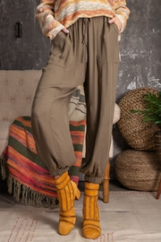 Easel  Soft Poly Linen Pants - Front full body