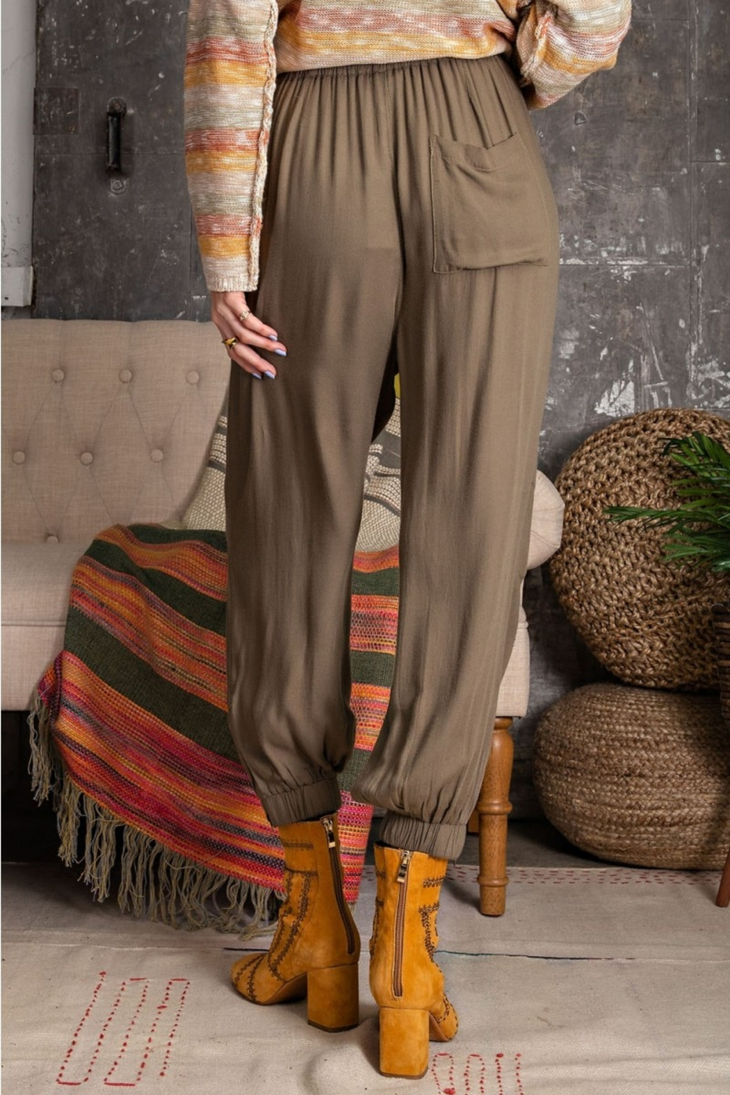 Easel  Soft Poly Linen Pants - Back Cropped Image