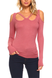 Urban X Soft Ribbed Cold Shoulder Cut Out Top - Product Mini Image