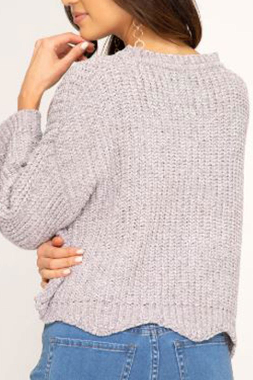 She + Sky Soft Scalloped-Hem Sweater - Front Full Image