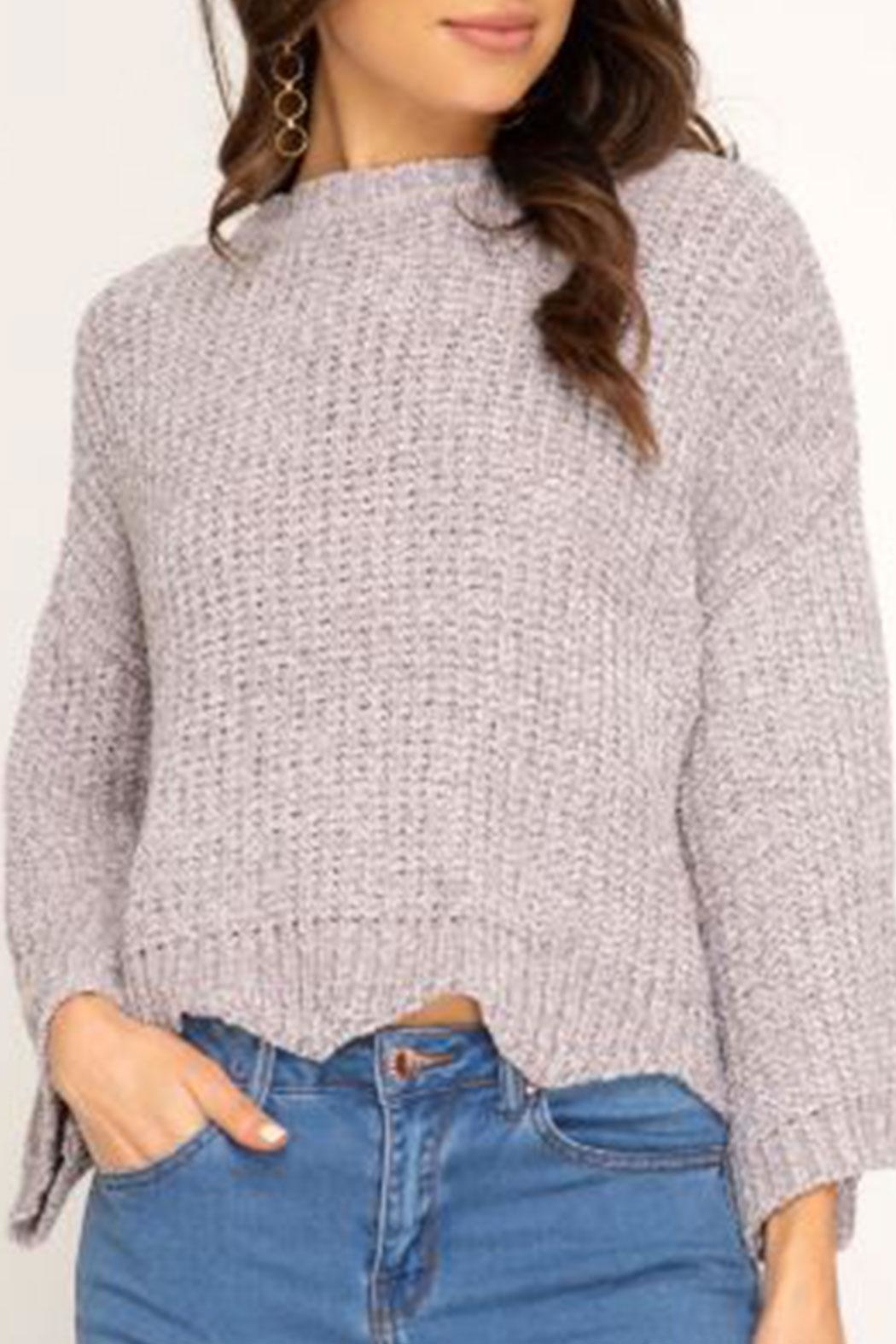 She + Sky Soft Scalloped-Hem Sweater - Main Image