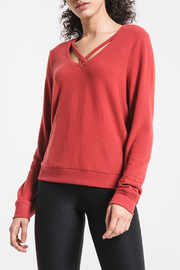 z supply Soft Spun Knit Cross Front Top - Product Mini Image