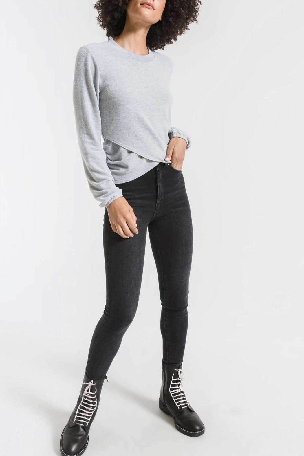 z supply Soft Spun Ruched Long Sleeve Top - Front Cropped Image