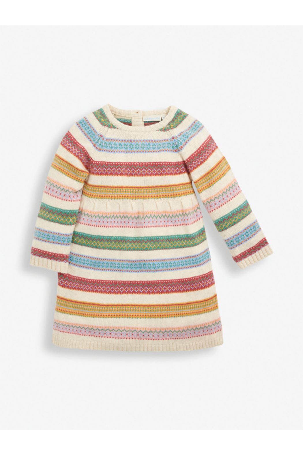 JoJo Maman Bebe Soft Stripe Fair Isle Dress - Front Cropped Image