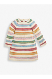 JoJo Maman Bebe Soft Stripe Fair Isle Dress - Front cropped