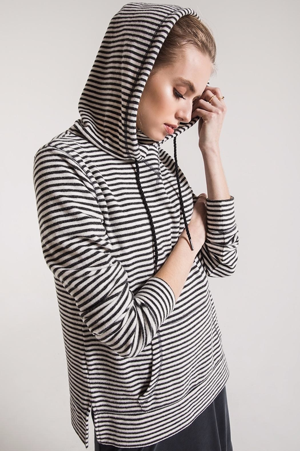 z supply Soft Striped Hoodie - Side Cropped Image