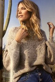 Tribal  Soft tweed crew neck cable sweater, long sleeves - Product Mini Image