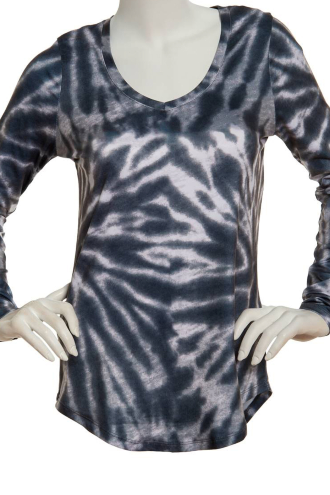 Poof Soft V Neck Tie Dye long sleeve top - Front Cropped Image