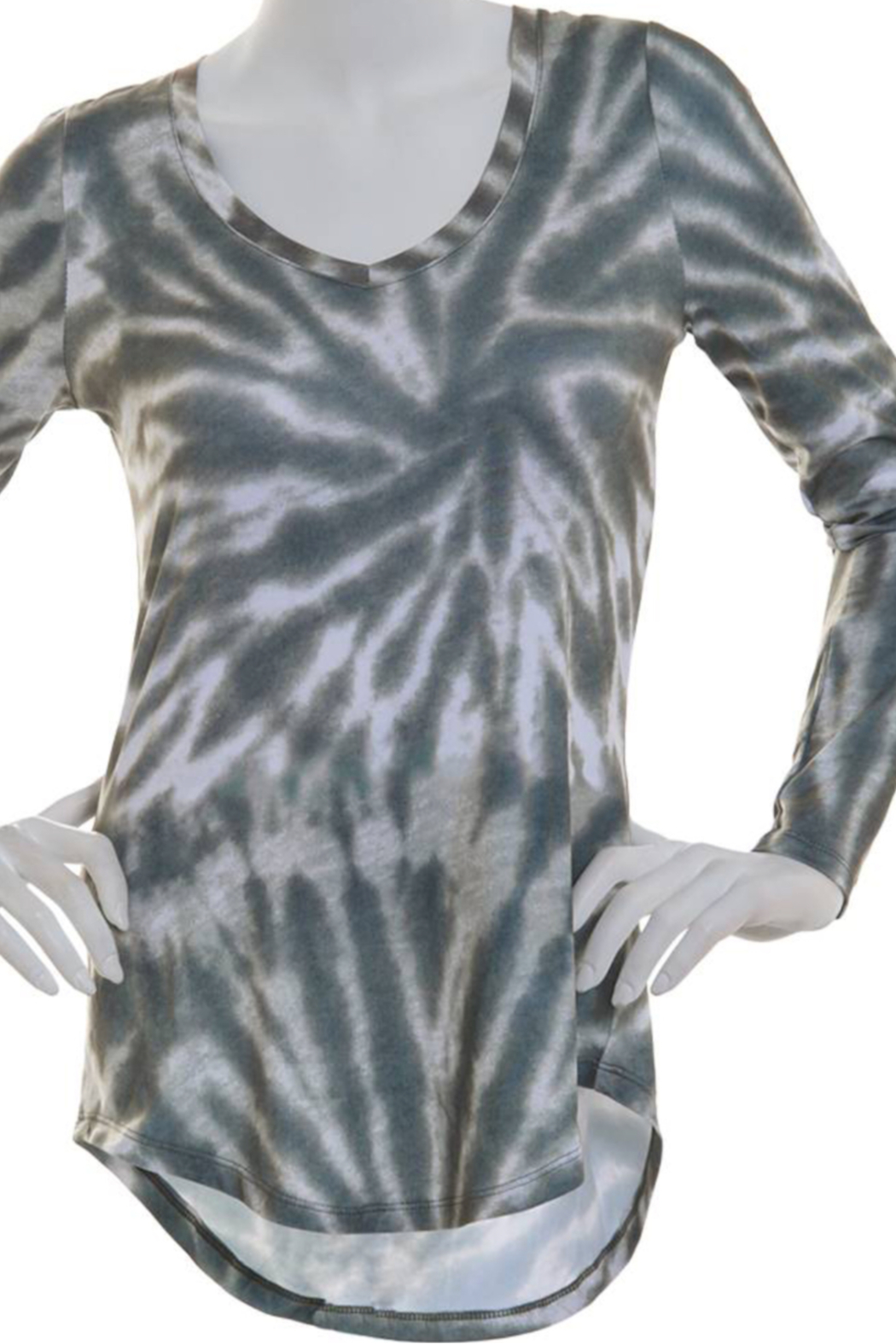 Poof Soft V Neck Tie Dye long sleeve top - Main Image