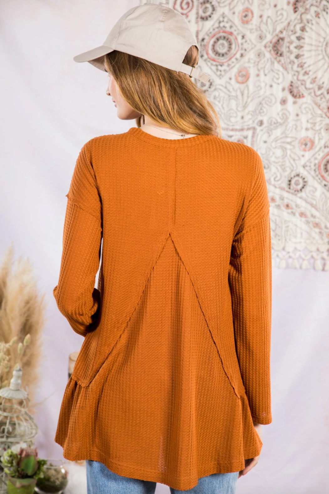 Very J  Soft Waffle Knit Tunic Top - Front Full Image