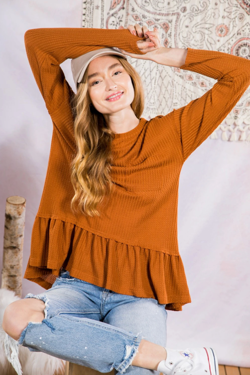 Very J  Soft Waffle Knit Tunic Top - Side Cropped Image