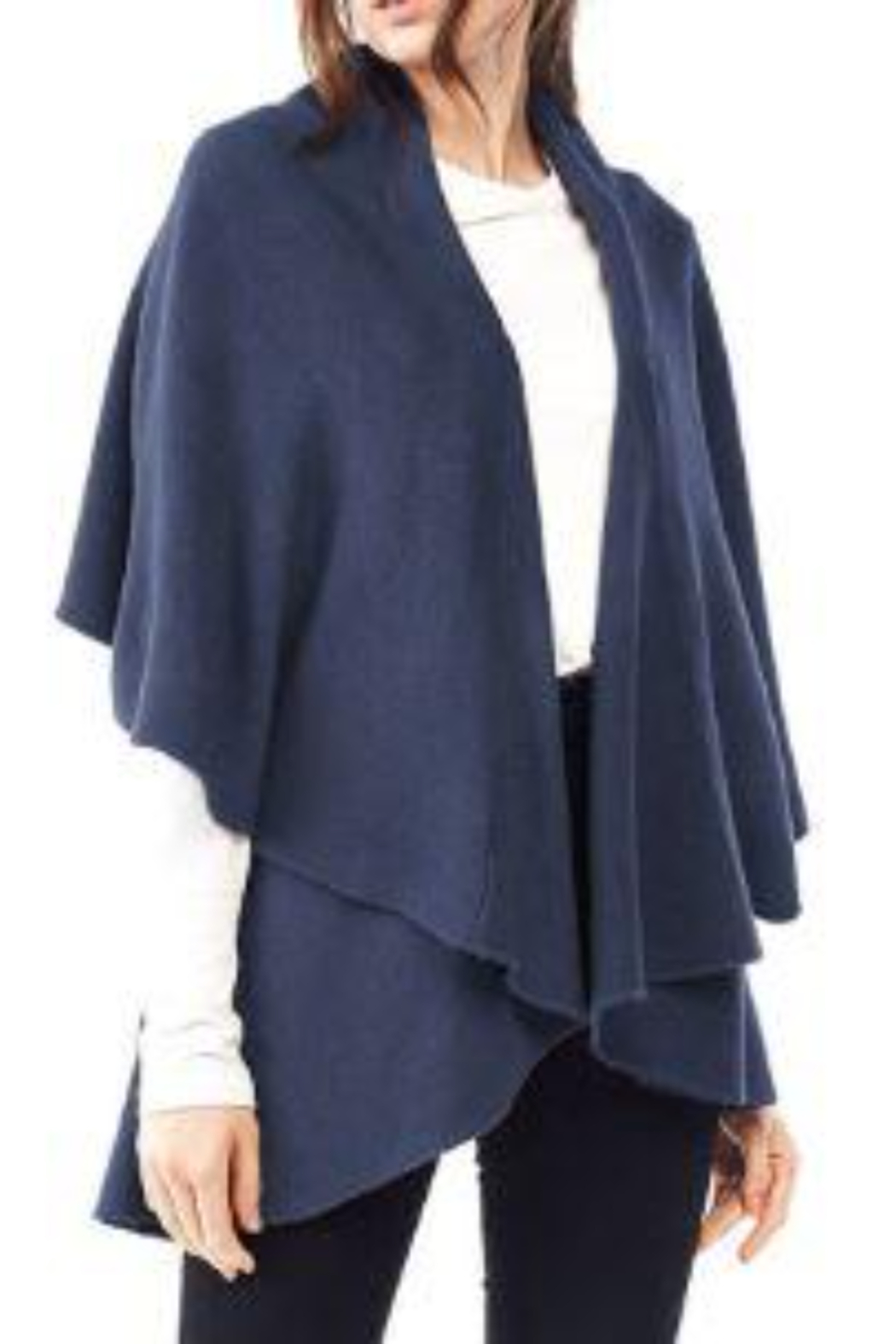 Lookbym Soft wool blend knit shawl poncho vest - Front Cropped Image