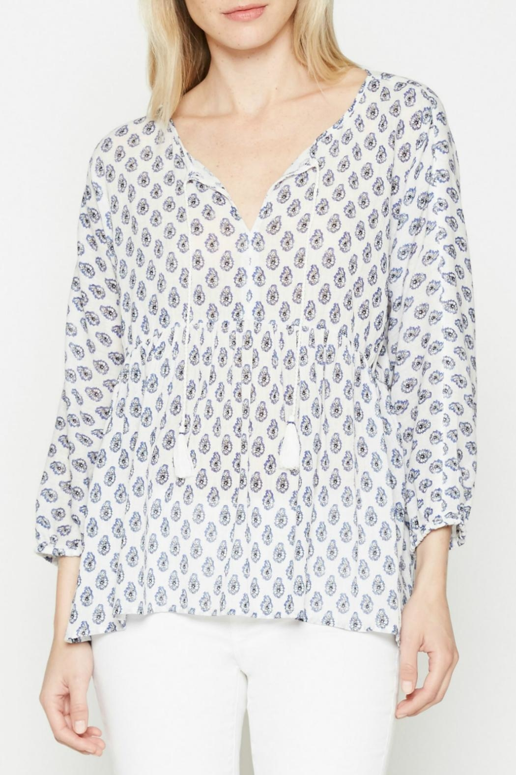 Soft Joie White Patterned Tassle Top - Main Image