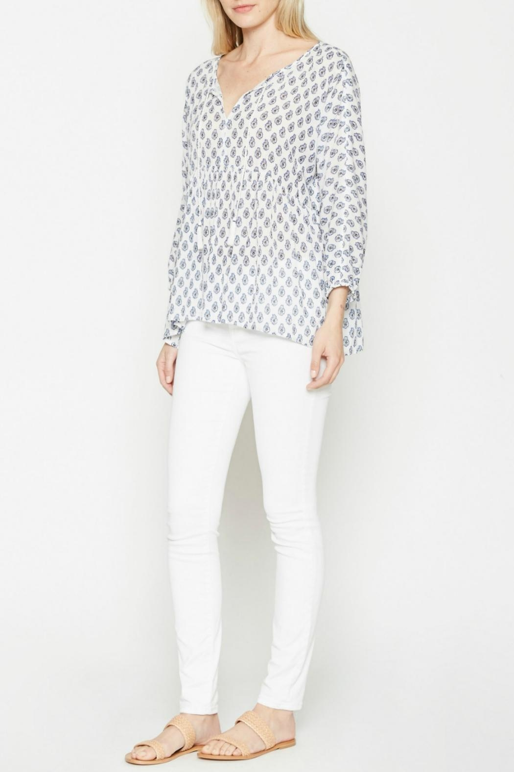 Soft Joie White Patterned Tassle Top - Side Cropped Image