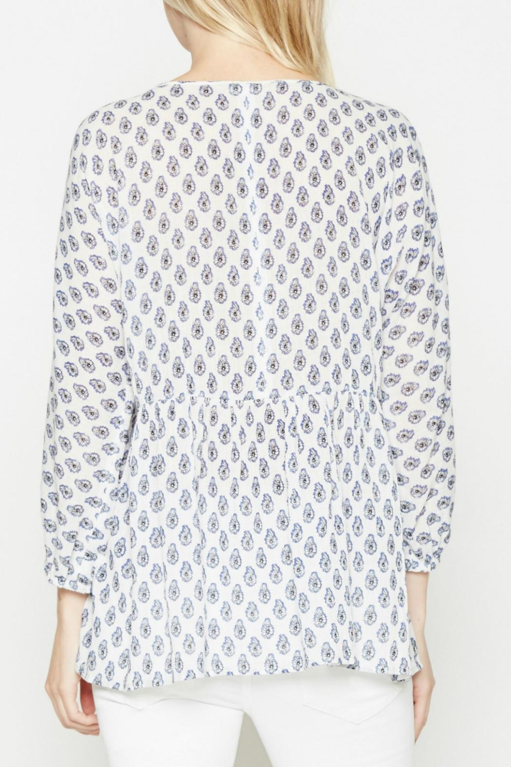 Soft Joie White Patterned Tassle Top - Front Full Image