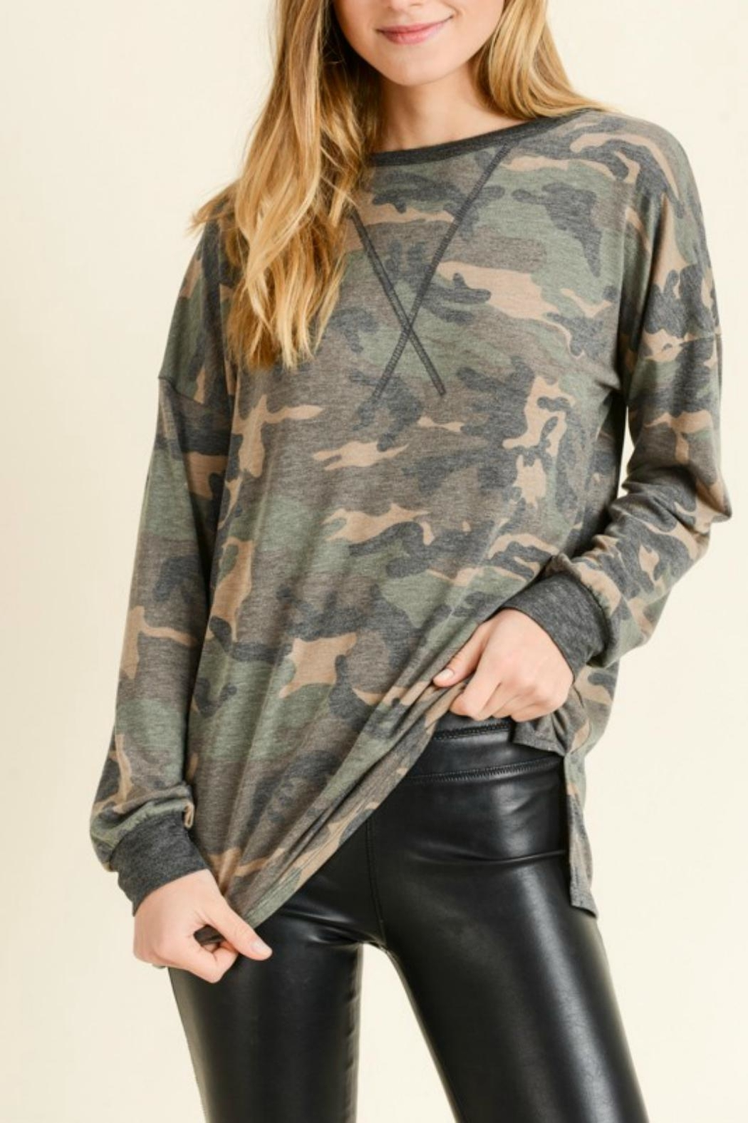 Pretty Little Things Softie Camo Top - Main Image
