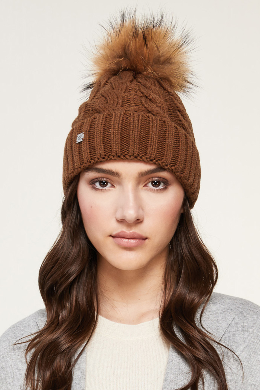 Soia & Kyo SOIA & KYO CABLE KNIT FUR POM POM HAT - Front Cropped Image