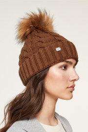 Soia & Kyo SOIA & KYO CABLE KNIT FUR POM POM HAT - Front full body