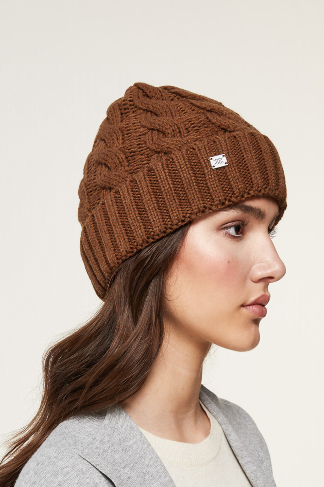 Soia & Kyo SOIA & KYO CABLE KNIT FUR POM POM HAT - Side Cropped Image