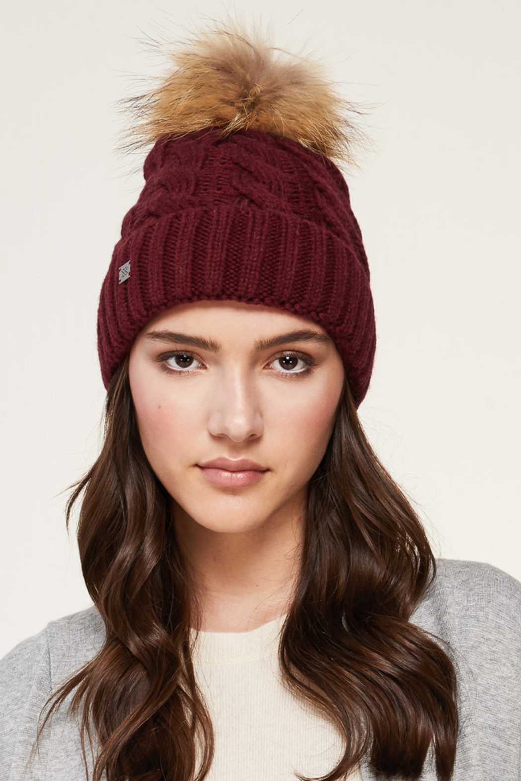Soia & Kyo SOIA & KYO CABLE KNIT FUR POM POM HAT - Main Image