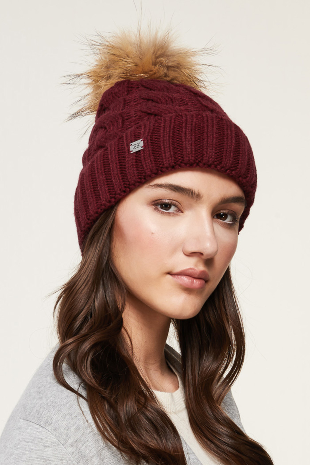 Soia & Kyo SOIA & KYO CABLE KNIT FUR POM POM HAT - Front Full Image