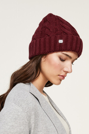 Soia & Kyo SOIA & KYO CABLE KNIT FUR POM POM HAT - Side cropped