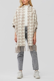 Soia & Kyo Houndstooth Pattern Knitted Scarfigan With Fringe - Product Mini Image