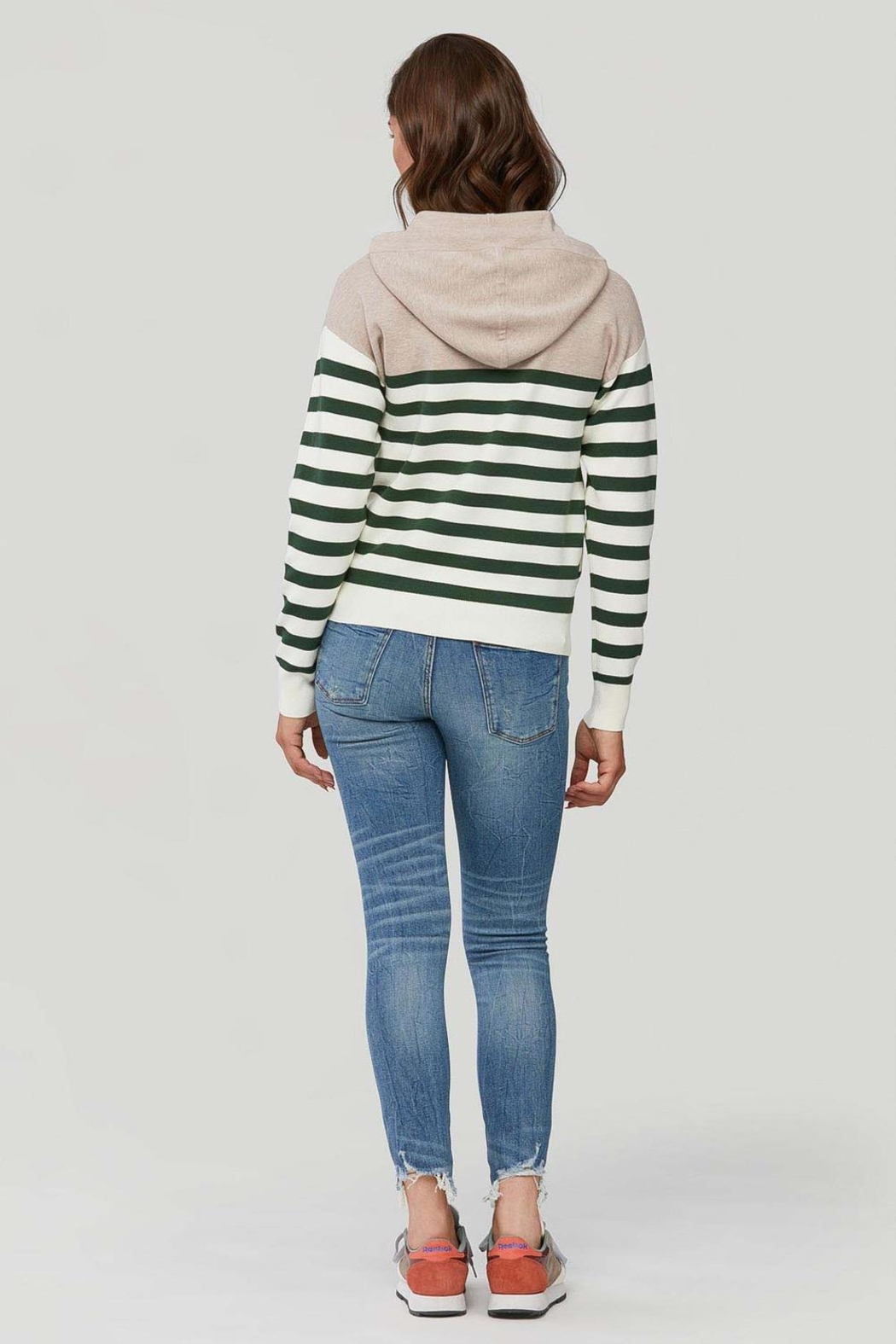 Soia & Kyo Leila Striped Knit Hoodie Fawn-Juniper - Side Cropped Image
