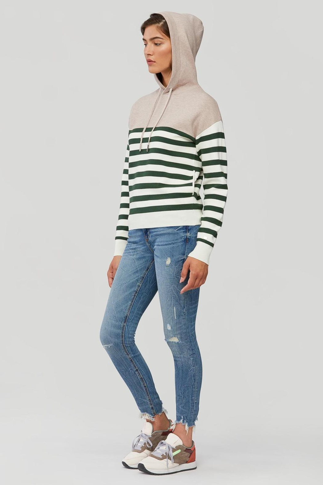 Soia & Kyo Leila Striped Knit Hoodie Fawn-Juniper - Front Full Image