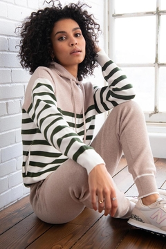 Shoptiques Product: Leila Striped Knit Hoodie Fawn-Juniper