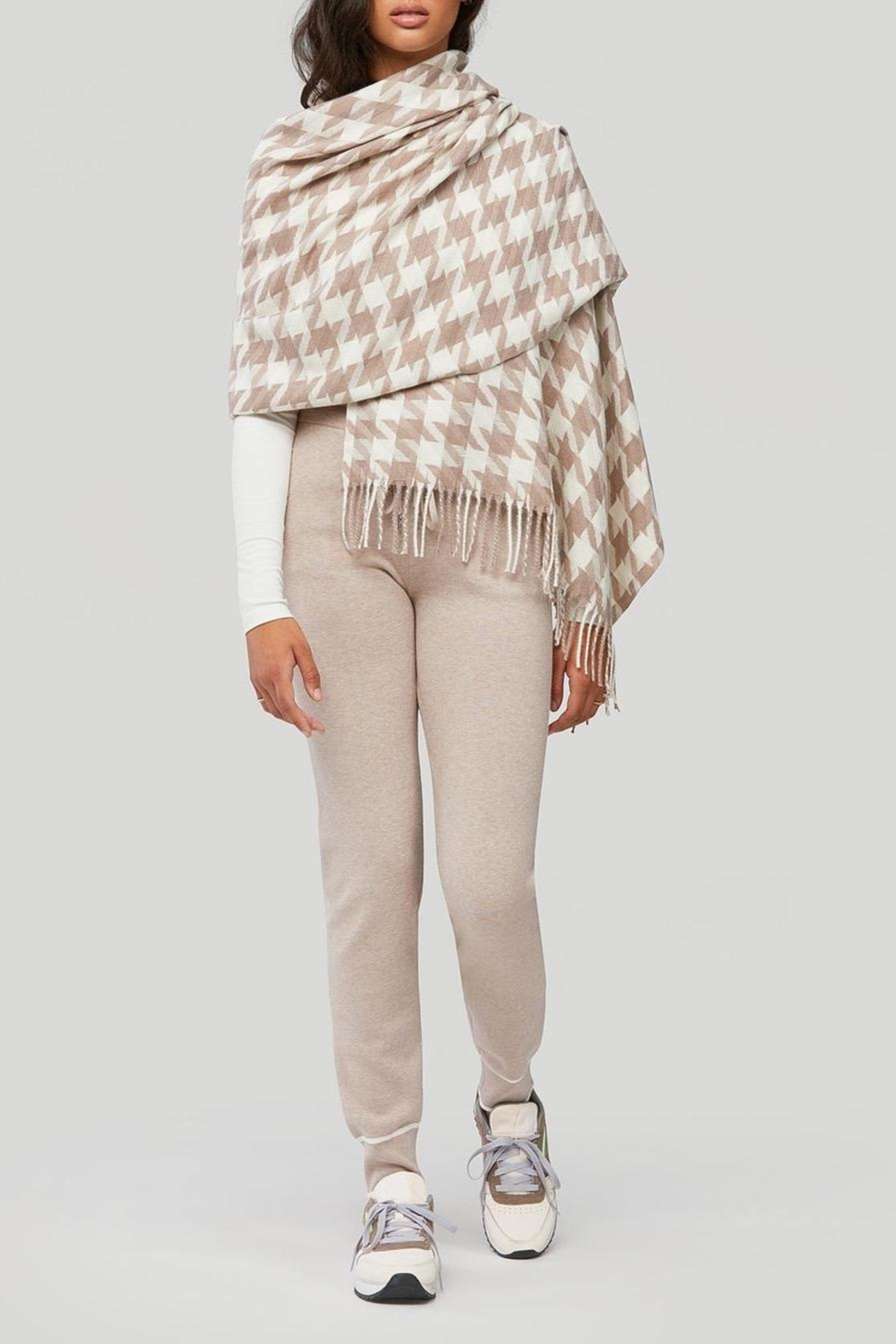Soia & Kyo Sania Woven Jacquard Scarf With Houndstooth Pattern - Front Full Image