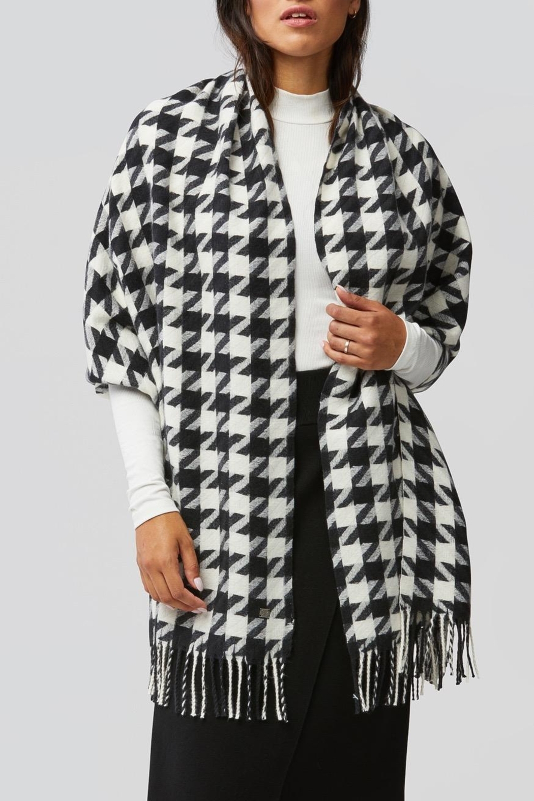 Soia & Kyo Sania Woven Jacquard Scarf With Houndstooth Pattern - Main Image