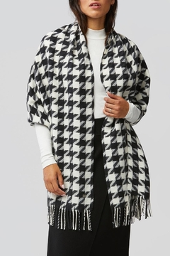 Shoptiques Product: Sania Woven Jacquard Scarf With Houndstooth Pattern