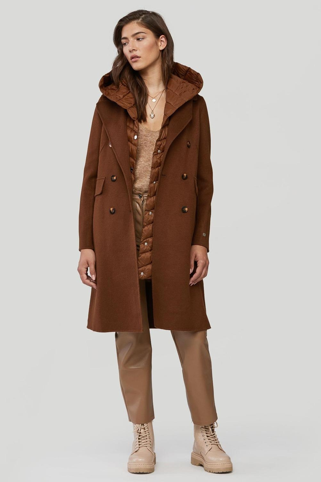 Soia & Kyo Viola-N Double-Face Chestnut Wool Coat - Main Image