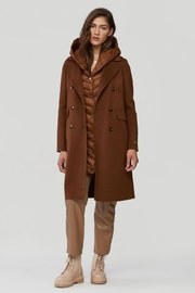Soia & Kyo Viola-N Double-Face Chestnut Wool Coat - Front full body
