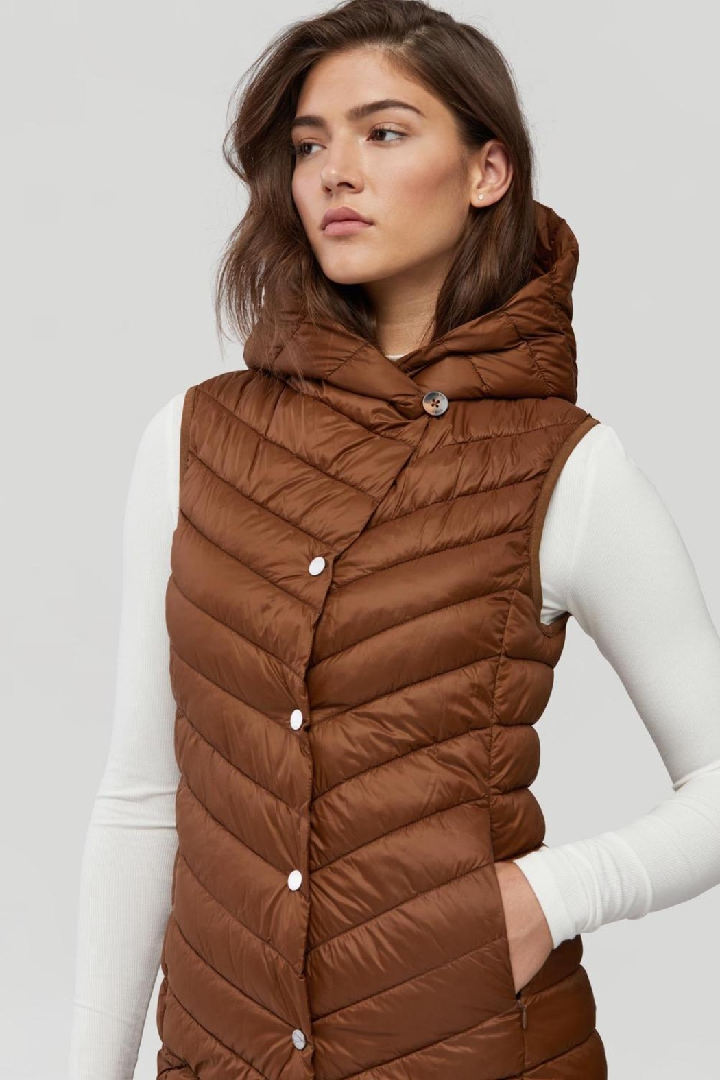 Soia & Kyo Viola-N Double-Face Chestnut Wool Coat - Back Cropped Image