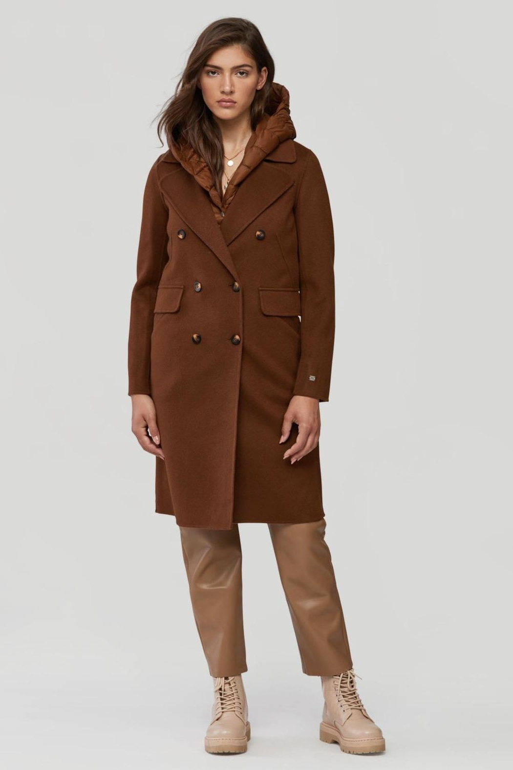 Soia & Kyo Viola-N Double-Face Chestnut Wool Coat - Side Cropped Image
