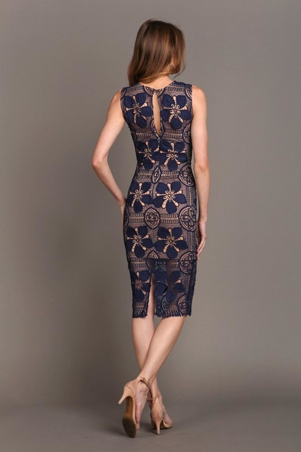 Soieblu Beautiful-Unique Navy Lace - Side Cropped Image