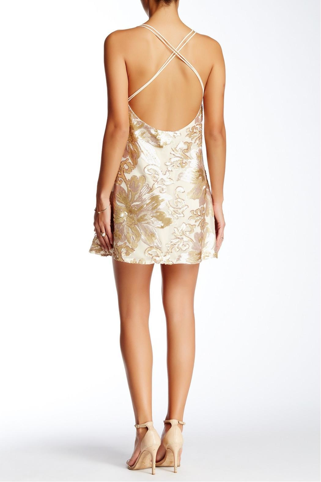 Soieblu Beige Sequins Dress - Front Full Image