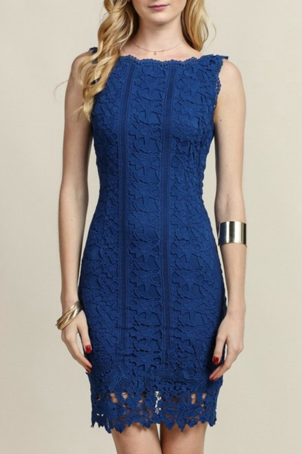 Soieblu Blue Lace Dress - Front Full Image
