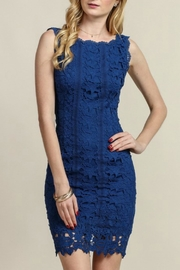 Soieblu Blue Lace Dress - Front cropped