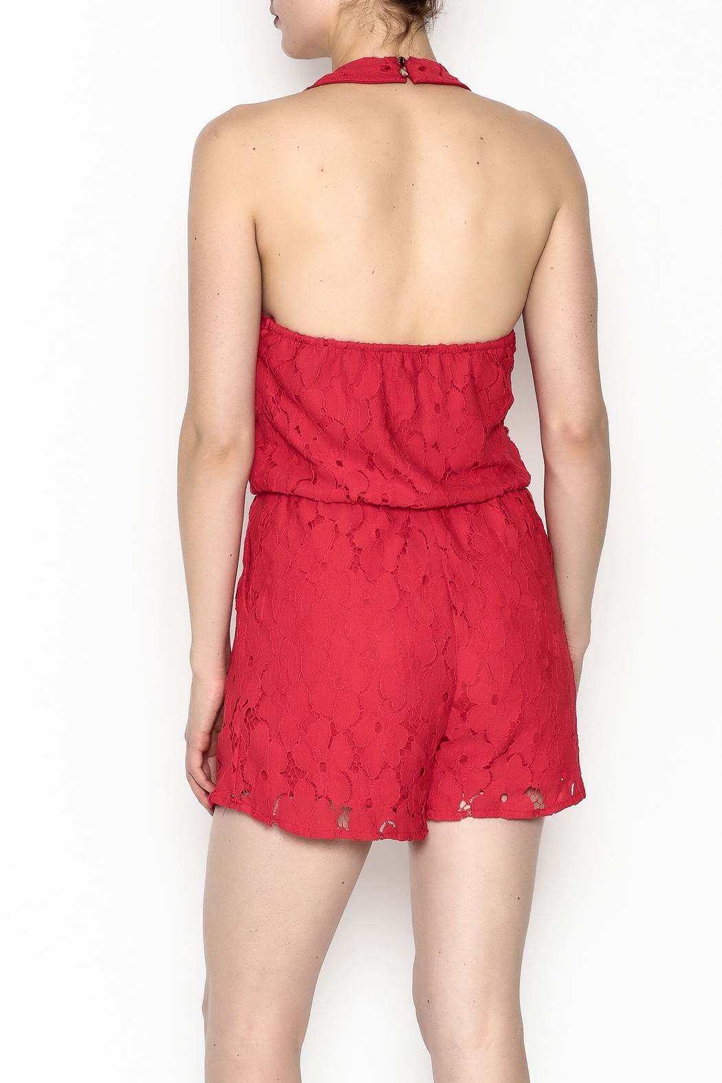 Soieblu Holiday Lace Romper - Back Cropped Image