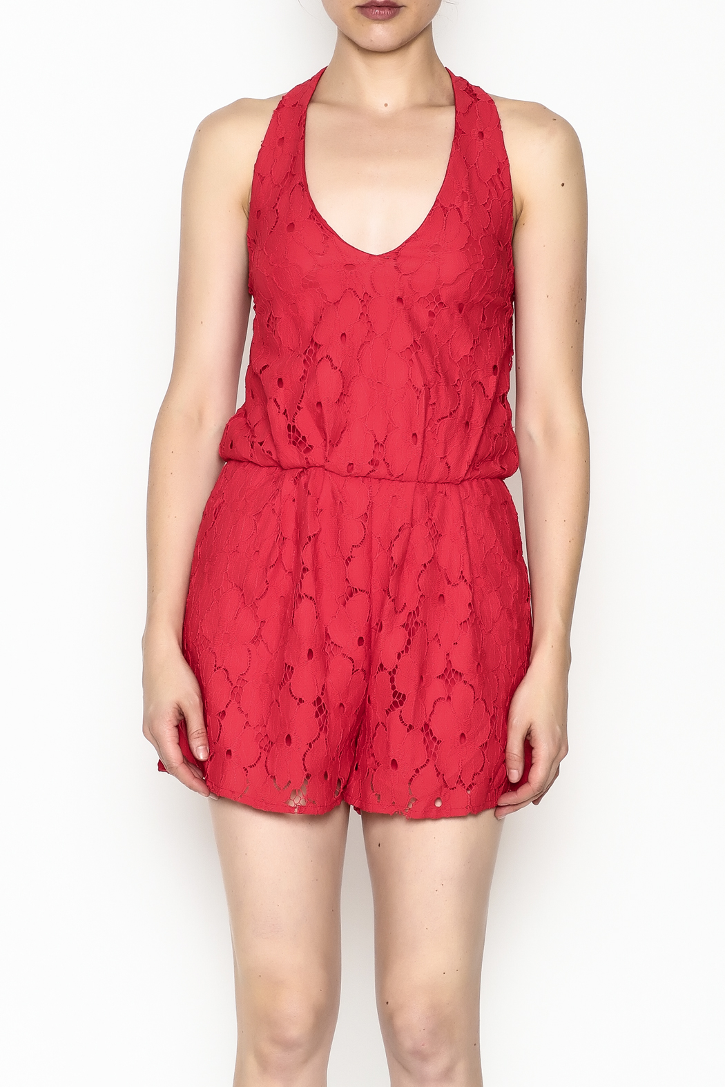 Soieblu Holiday Lace Romper - Front Full Image