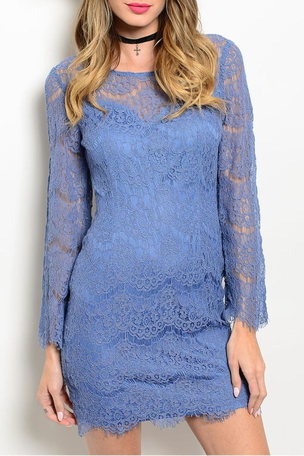 Soieblu Indigo Lace Dress - Front Cropped Image