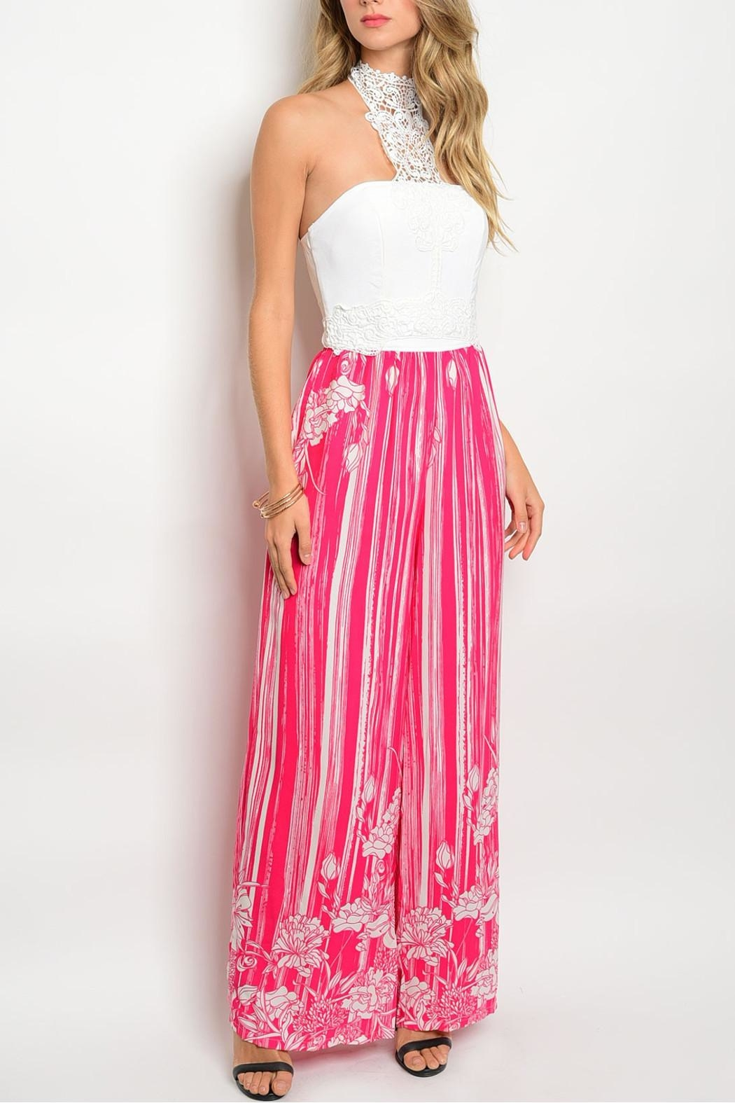 Soieblu Ivory Fuchsia Jumpsuit - Front Cropped Image