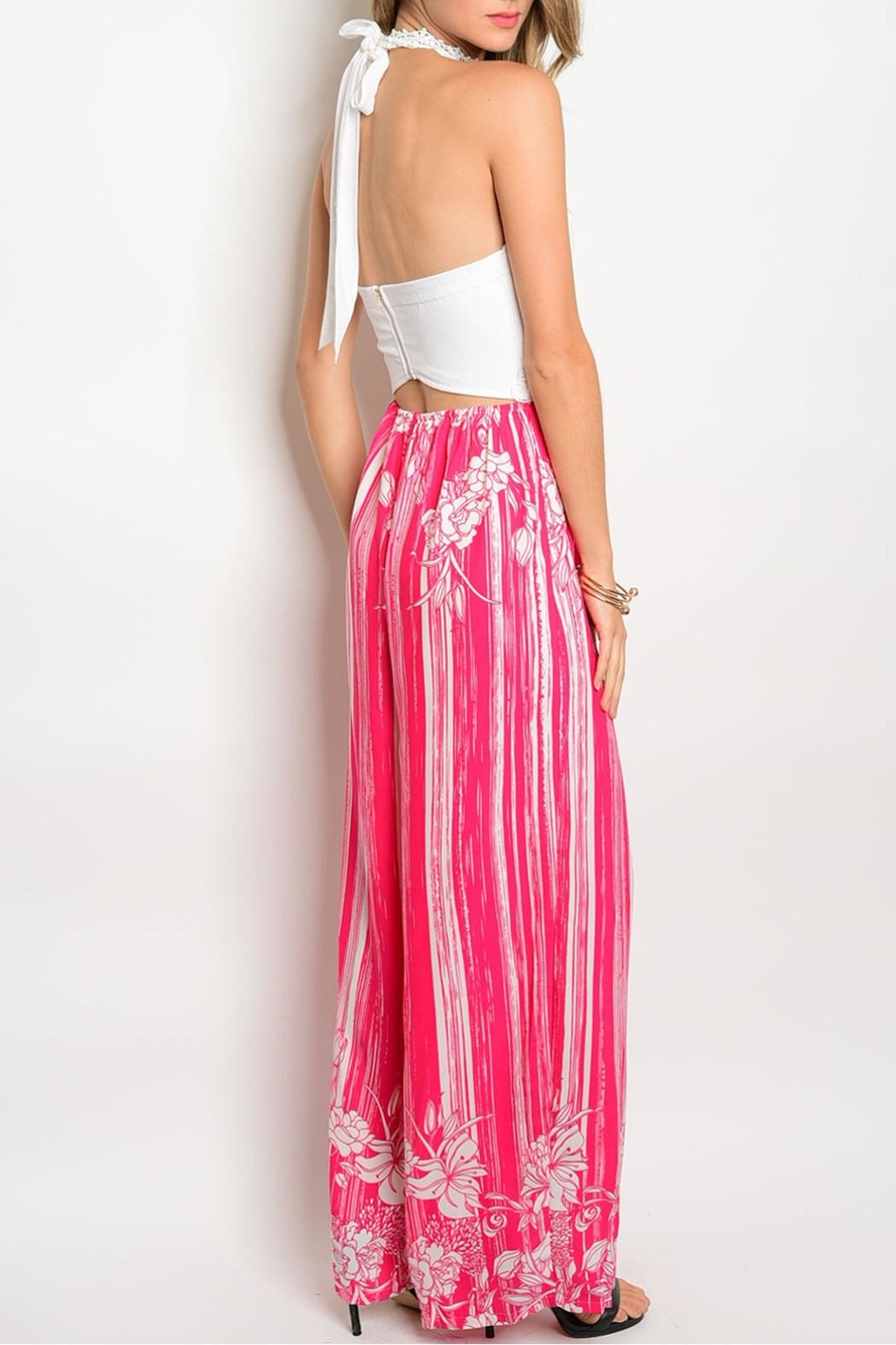 Soieblu Ivory Fuchsia Jumpsuit - Front Full Image